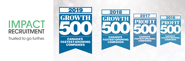 Growth500 WebBanner2019 - Impact Recruitment is one of Canada's Fastest-Growing Companies for fourth year in a row
